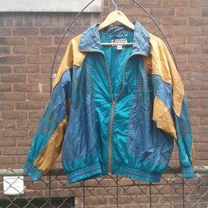 Men's 80s Vintage Colorblock Nylon Windbreaker